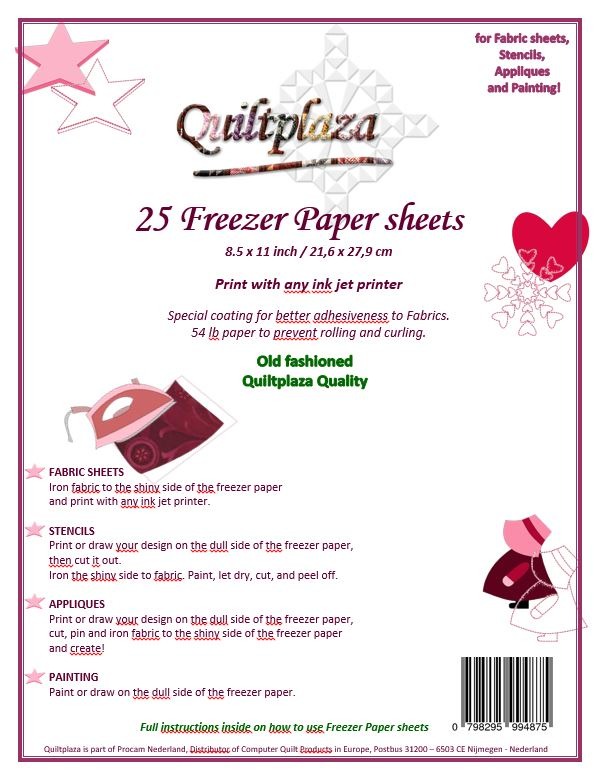 Quiltplaza Freezer Paper Sheets (25 vel)